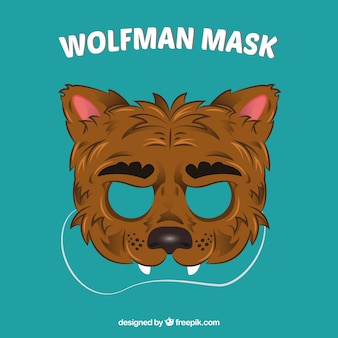 Máscara de lobo dibujada a mano