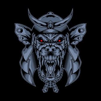 Máscara de lobo samurai de la oscuridad