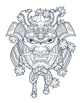 Máscara del malvado samurai japonés en colores.