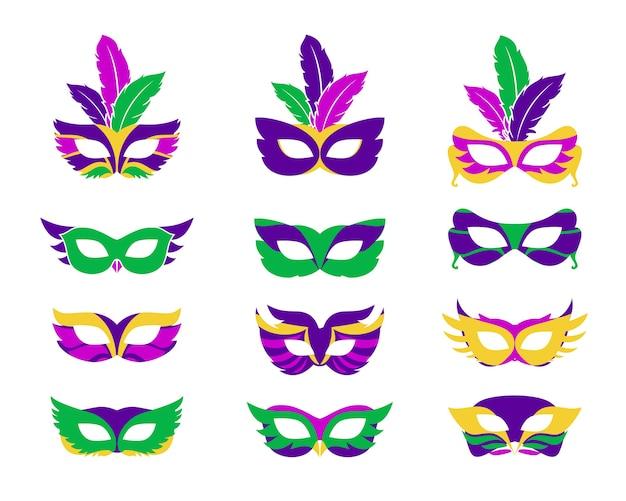 Máscara de mardi gras, máscaras de mardi gras de vector aislado en blanco