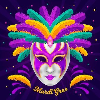 Máscara de mardi gras plana detallada