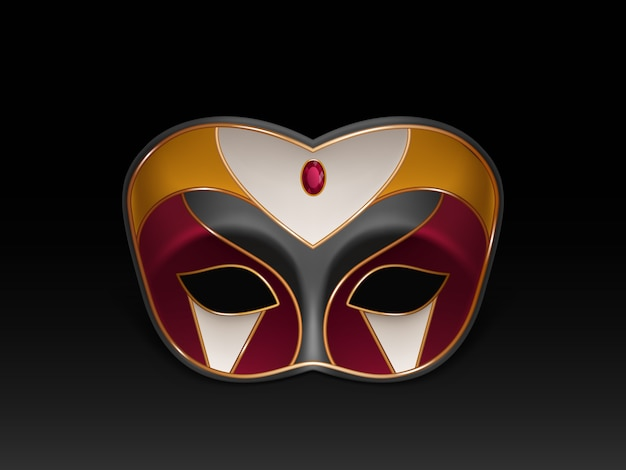 Máscara de media cara colombina decorada con piedras preciosas, rubí rojo y dorado.