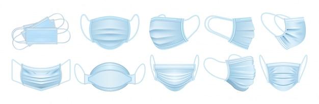 Máscara médica aislada icono conjunto realista. icono de conjunto realista capa protectora quirúrgica. ilustración máscara médica sobre fondo blanco.