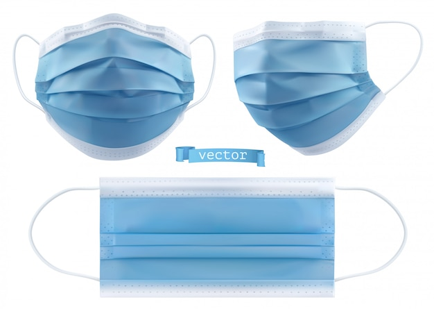 Máscara médica, máscara quirúrgica, protección contra virus e infecciones. objetos realistas 3d