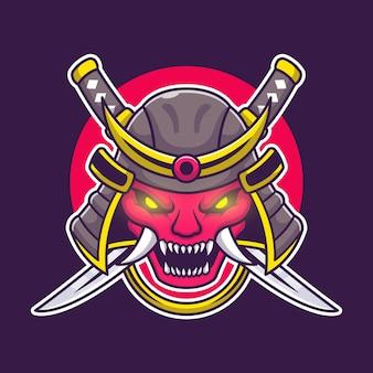 Máscara de oni con personaje de dibujos animados de espada. objeto de arte aislado.