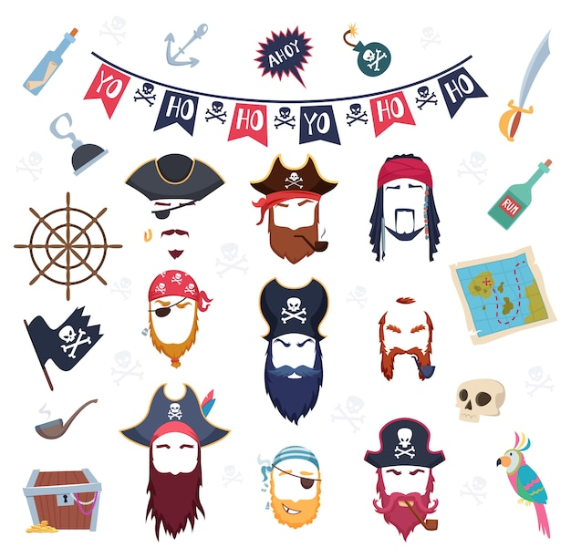 Máscara de pirata. disfraces de elementos de mascarada para decoración de fiesta de cumpleaños constructor de gancho de barba de bigote de cabello