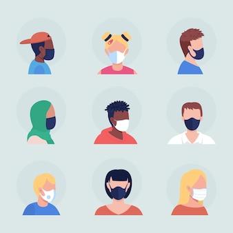 Con máscara protectora de color semi plano conjunto de avatar de carácter vectorial. retrato con respirador de vista frontal y lateral. ilustración de estilo de dibujos animados moderno aislado para diseño gráfico y paquete de animación