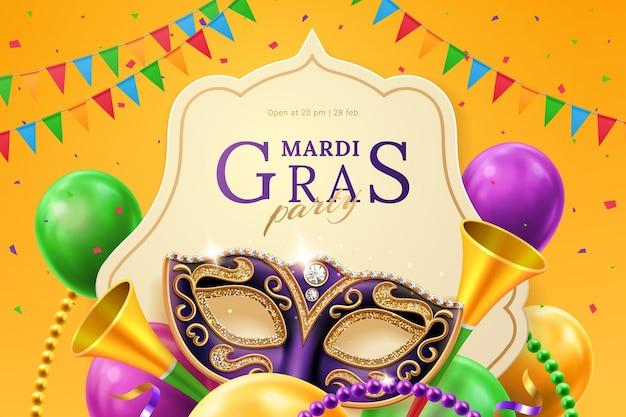 Máscara púrpura con diamantes para el carnaval en el volante de invitación de mardi gras