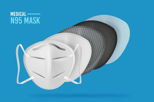 Máscara quirúrgica en capas n95