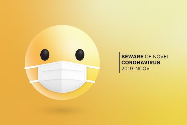 Máscara quirúrgica moderna de la cara médica de emoji