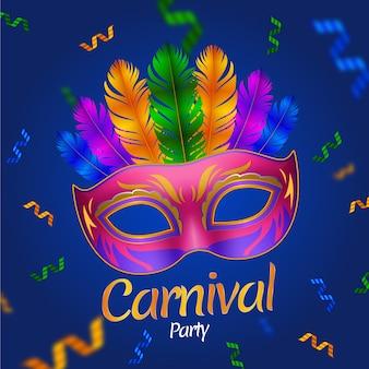 Máscara realista fondo de carnaval