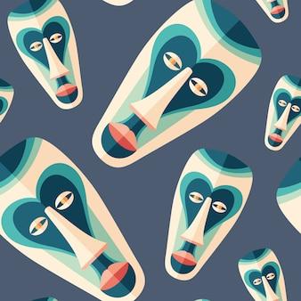 Máscara ritual festiva de arte plano de patrones sin fisuras.