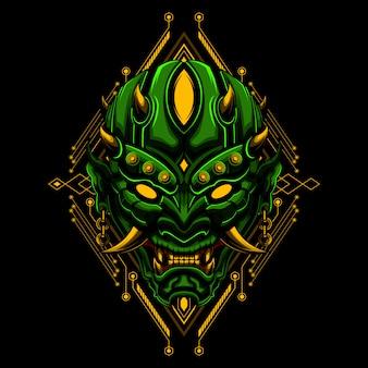 Máscara de ronin diablo malvado vector illustraton geometría