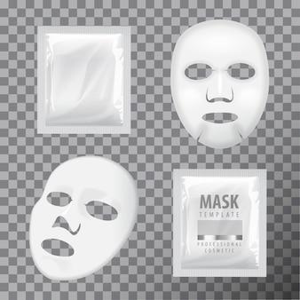 Máscara de sábana facial y bolsita. plantilla de maqueta de vector en blanco.