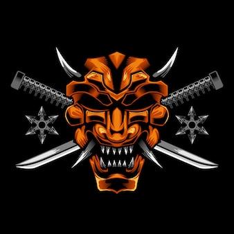 Máscara de samurai cuchillo cruzado