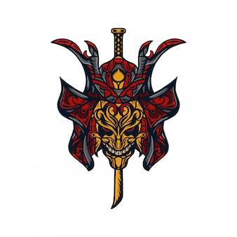 Máscara de samurai con ilustración dibujada a mano