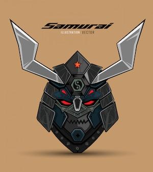 Máscara de samurai ilustración