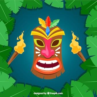 Máscara tiki colorida con antorchas