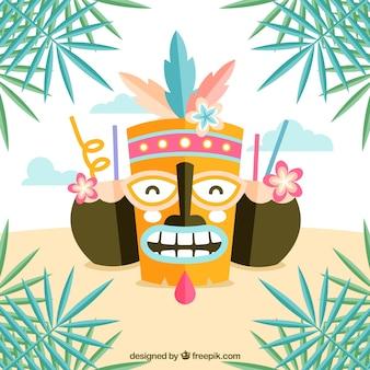 Máscara tiki divertida con cócteles de coco