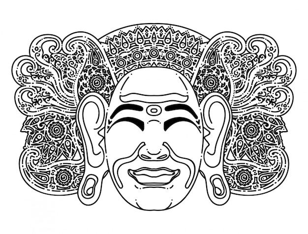 Máscara tradicional balinesa simple ilustración