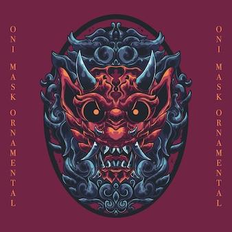 Máscara tradicional demonio cabeza arte ornamental ilustración