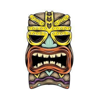 Máscara tradicional de la isla tiki con acento dorado y la boca abierta