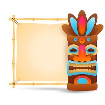 Máscara tribal hawaiana y letrero de bambú.