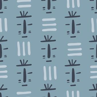Máscara tribal de patrones sin fisuras sobre fondo azul. fondo de pantalla sin fin étnico africano. estilo garabato