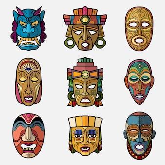 Máscara tribal vudú de artesanía africana y conjunto de símbolos de tótems de cultura sudamericana inca