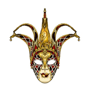 Máscara veneciana de carnaval acuarela sobre blanco