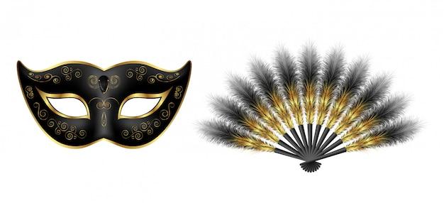 Máscara veneciana de carnaval negro, abanico de plumas de mascarada con adornos dorados