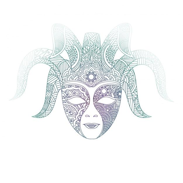 Máscara veneciana en diseño ornamental