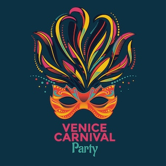 Máscara veneciana para la invitación de la fiesta del carnaval de venecia