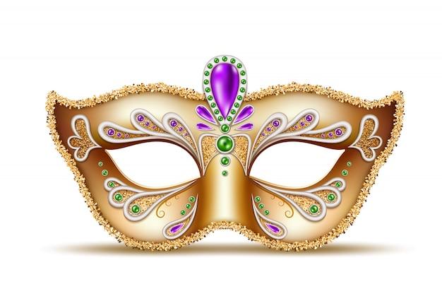 Máscara veneciana realista de carnaval, decoración de carnaval de brasil