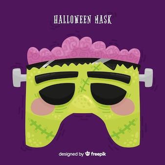 Máscara de zombie de halloween en diseño plano