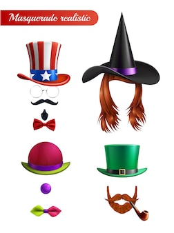 Mascarada en blanco con peluca bigote barba corbata tubo mariposa bombín y sombreros de san patricio