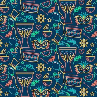 Máscaras y adornos de patrones sin fisuras de carnaval