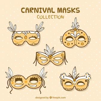 Máscaras de carnaval dibujadas a mano