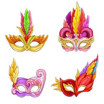 Máscaras de colombina con conjunto de dibujos animados de plumas.