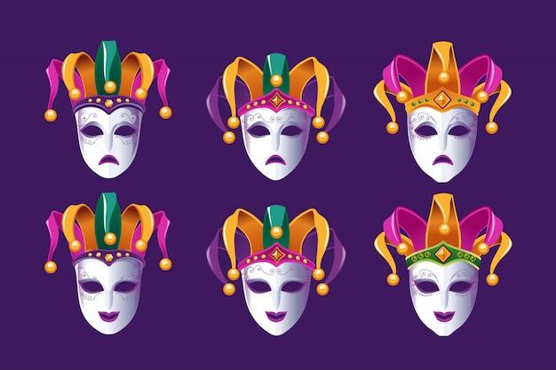 Máscaras de comedia y tragedia de carnaval con sombrero de bufón