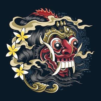 Máscaras diablo barong bali cultura y tradiciones balinesas de indonesia