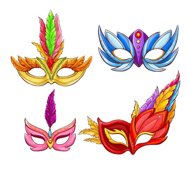 Máscaras faciales brillantes para carnavales venecianos.