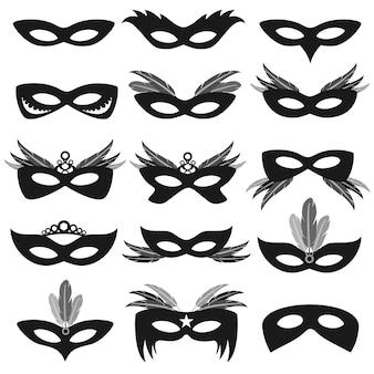 Máscaras faciales de la fiesta de carnaval negro aisladas en conjunto vector blanco