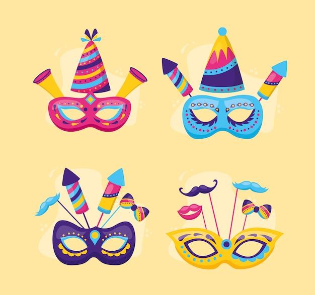 Máscaras festivas de carnaval