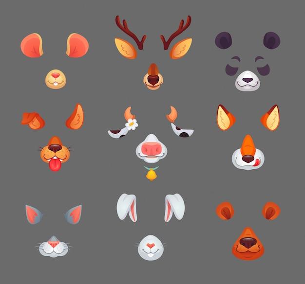 Máscaras de filtro de animales divertidos con dibujos animados divertidos orejas y narices autofoto o avatar