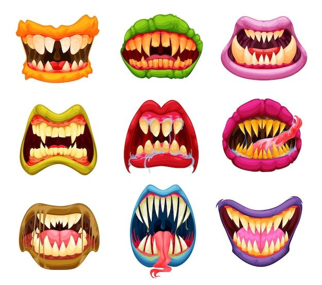 Máscaras de halloween monstruo boca, dientes y lengua