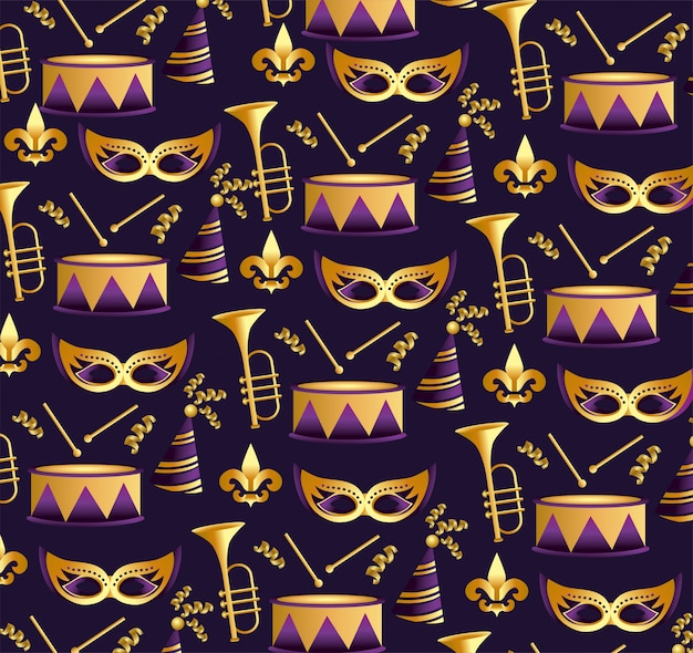 Máscaras de hierba merdi con fondo de trompet y tambor.