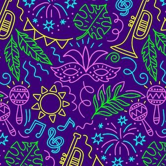 Máscaras y hojas de patrones sin fisuras de carnaval