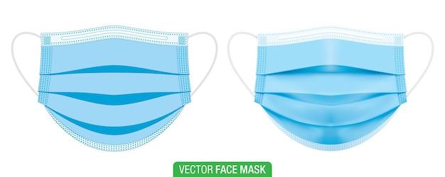 Máscaras médicas azules en estilo gráfico plano y d