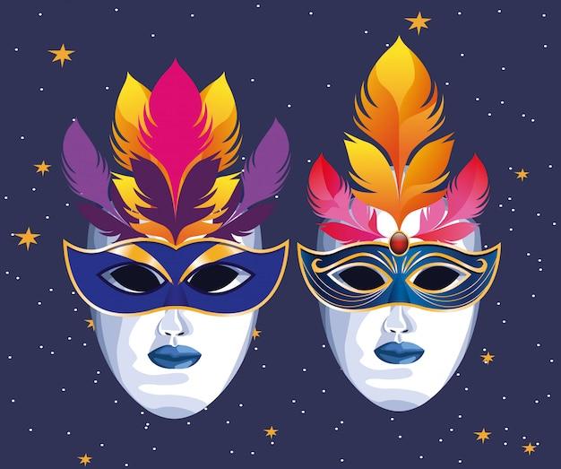 Máscaras con plumas